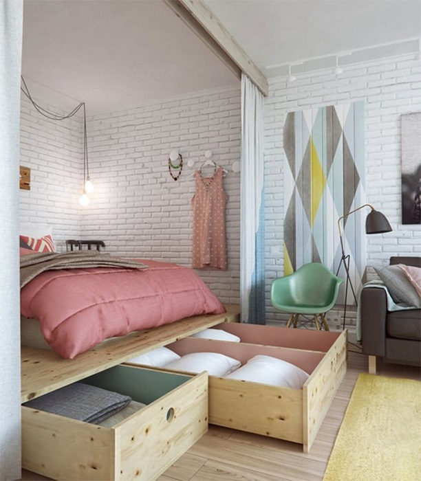 Кровать подиум с ящиками
