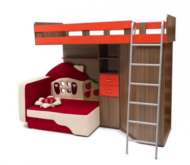 двухъярусная кровать для детей с ящиками