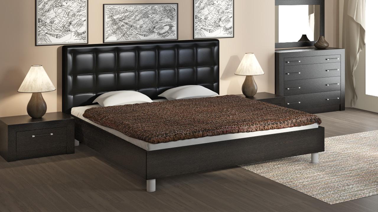Кровать с мягким изголовьем из кожи