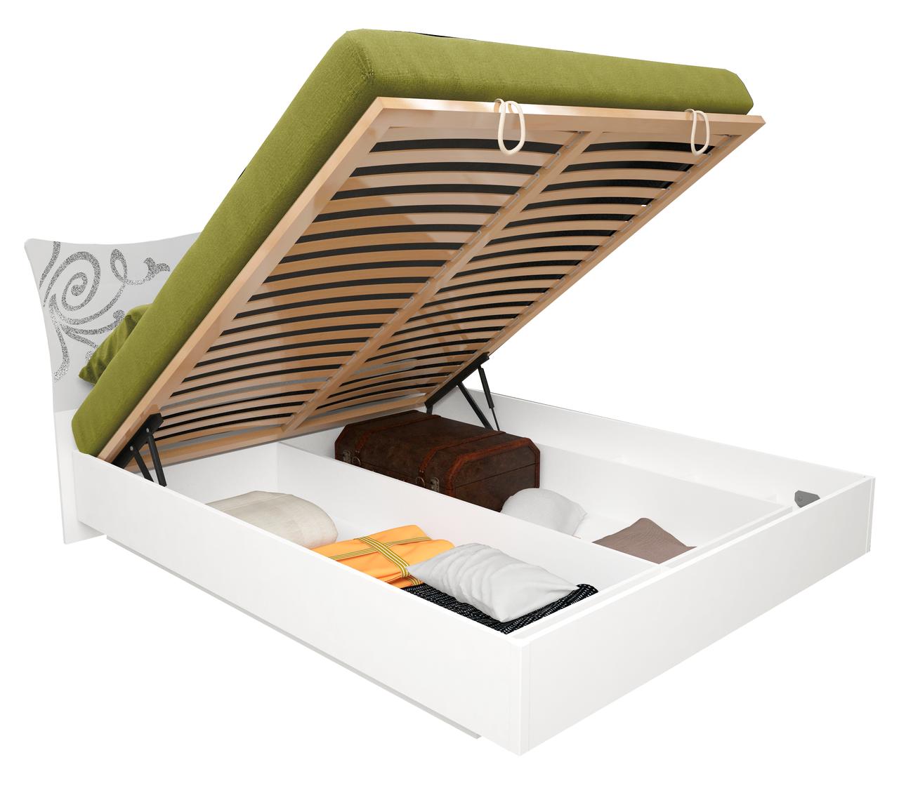 Кровать с подъемным механизмом белый глянец