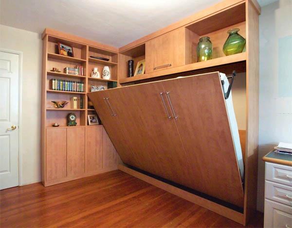 Кровать с подъемным механизмом - маленькая спальня может быть просторной