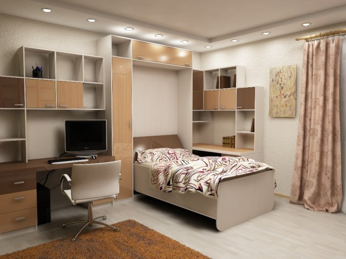Кровать шкаф с подъемным механизмом в детской