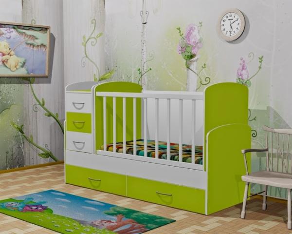 Кровать трансформер бело зеленого цвета