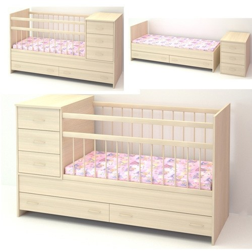 Кровать трансформер детская с комодом