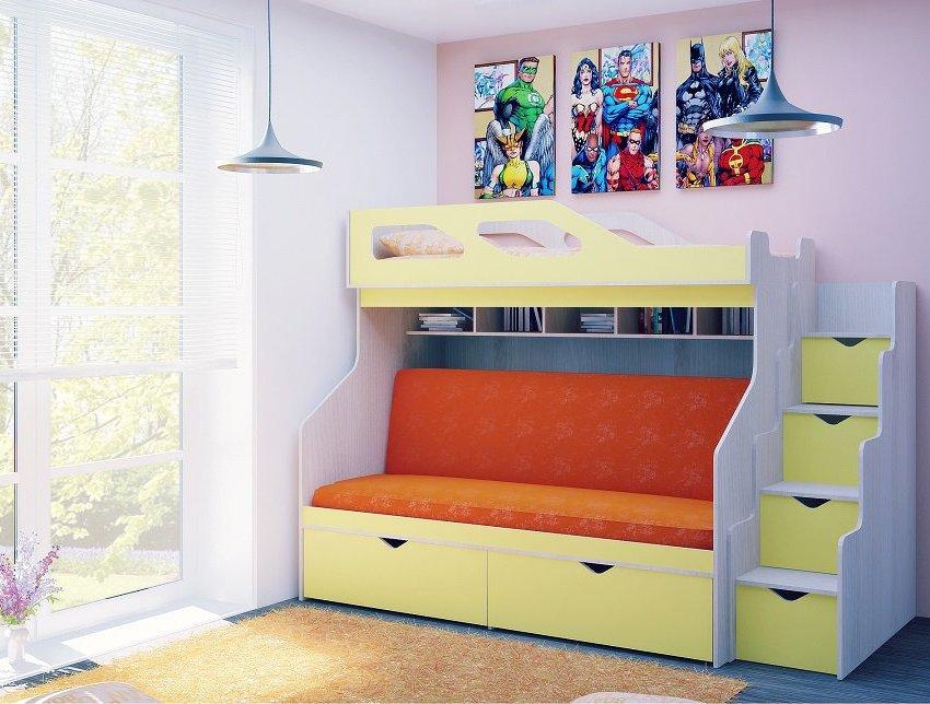 Кровать в два яруса с диваном для ребенка