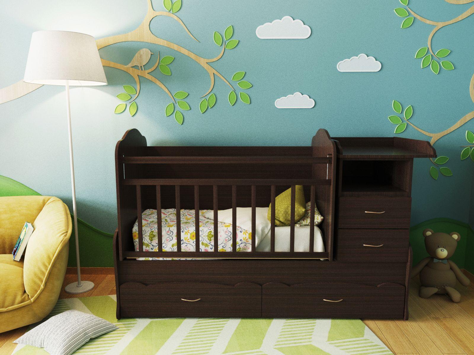Кроватка для новорожденных с вместительным комодом