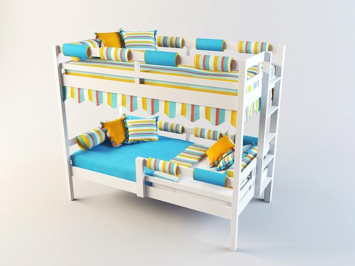Мягкие бортики на двухъярусной кровати
