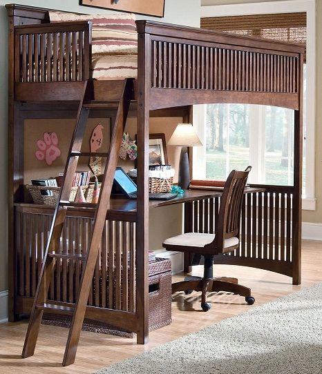 Односпальная кровать чердак с письменным столом для взрослых
