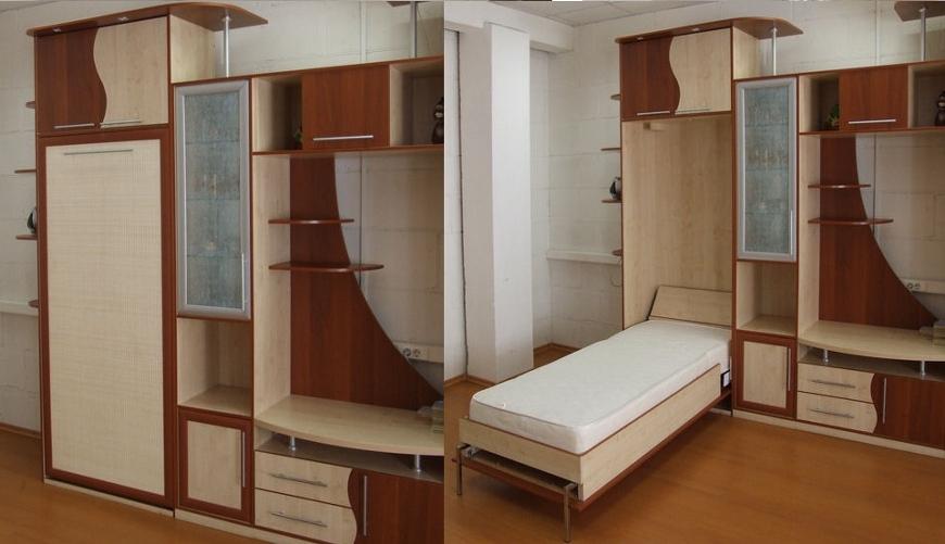 Односпальная кровать в шкафу