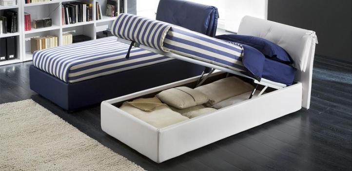 Односпальные кровати с подъемным механизмом в интерьере