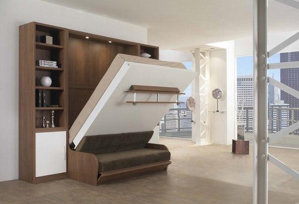 Откидная кровать, встроенная в стенку