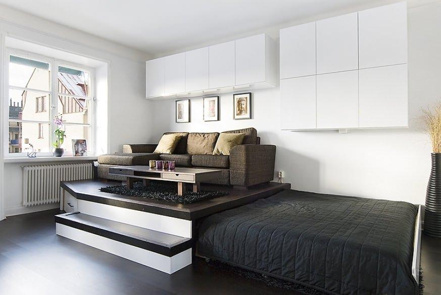 Подиум-кровать в квартире - преимущества