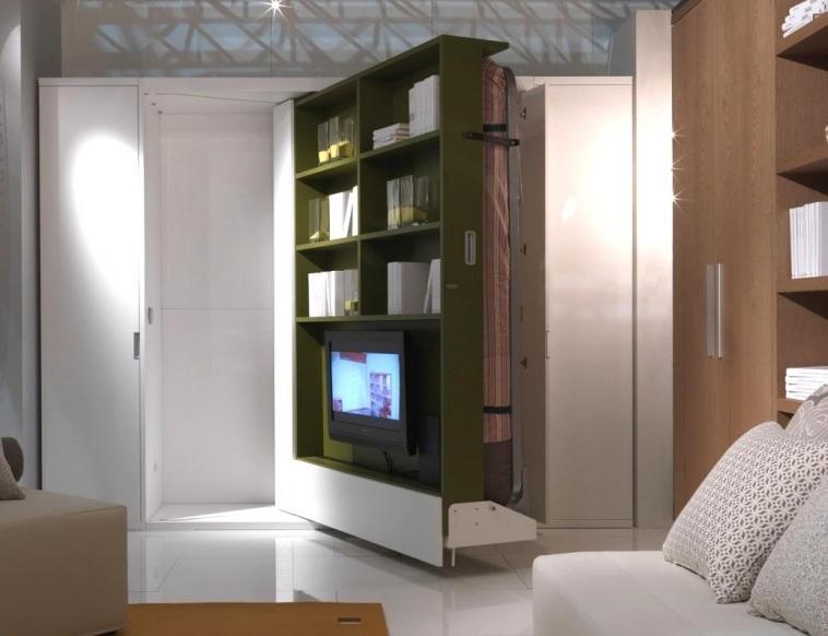 Поворотная кровать трансформер для маленькой квартиры