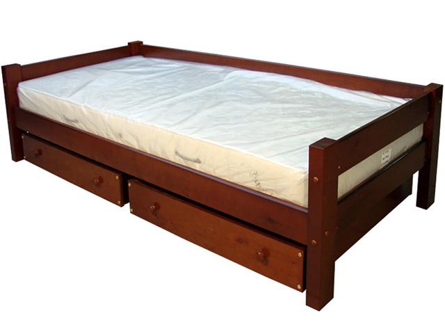 Простая односпальная кровать с выдвижными ящиками