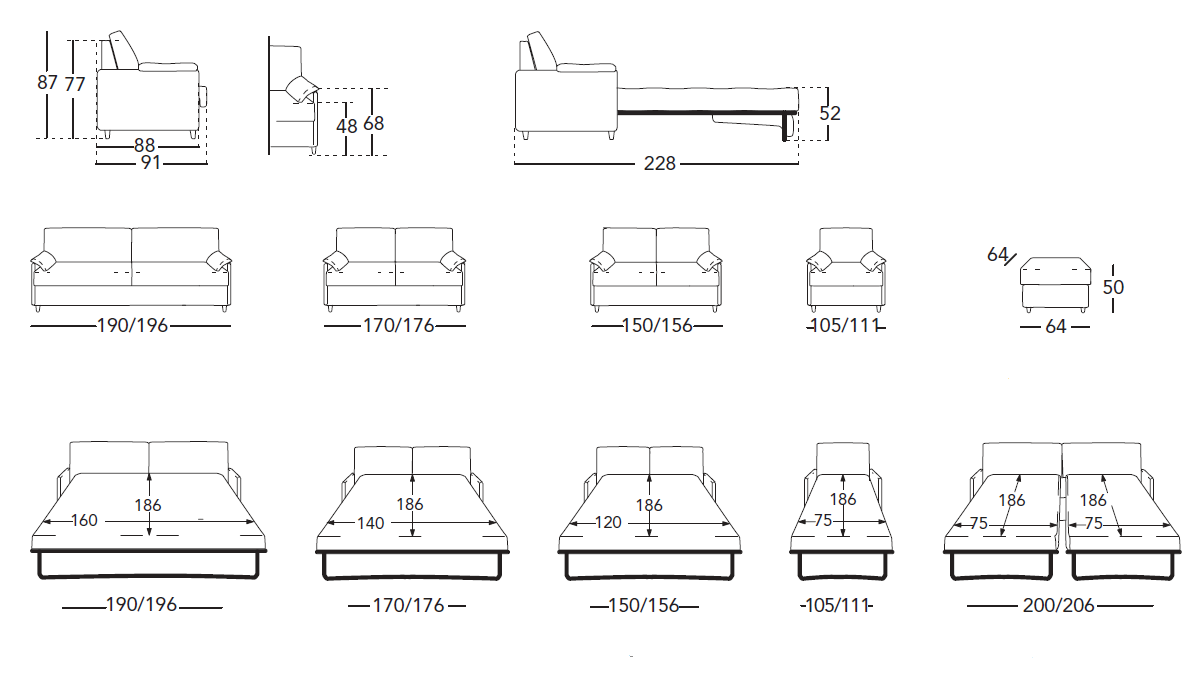Размеры дивана кровати