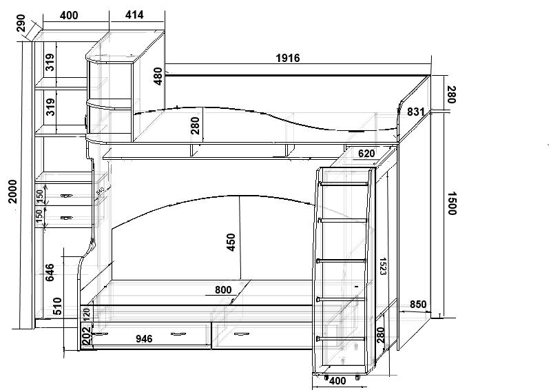 Размеры двухъярусной кровати с диваном