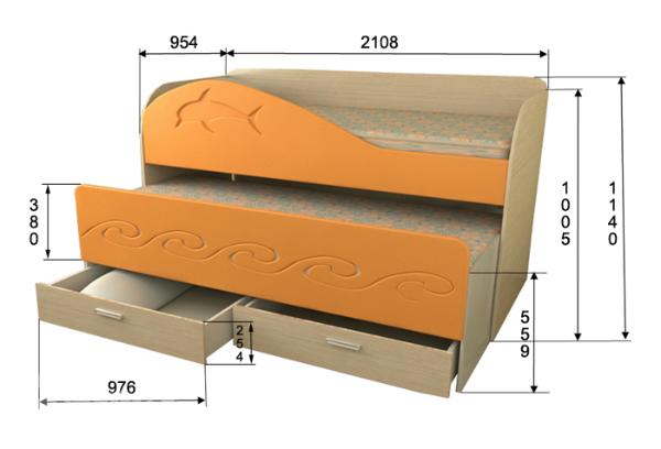 Размеры выкатной кровати