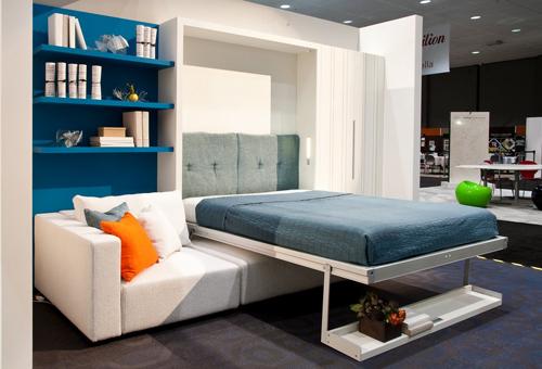 Шкаф кровать с угловым диваном в белом цвете
