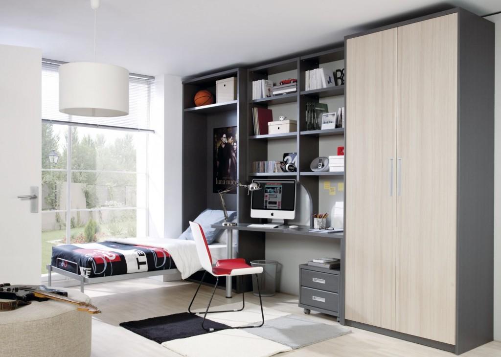Шкаф кровать тёмно-серая со столом и шкафом