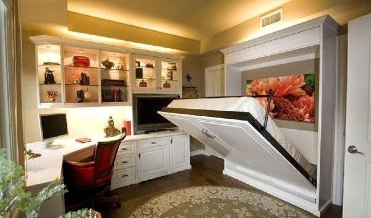 Шкаф кровать в интерьере спальни