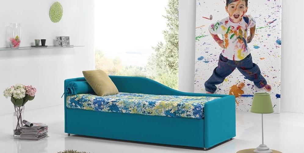Синий диван с бортиком
