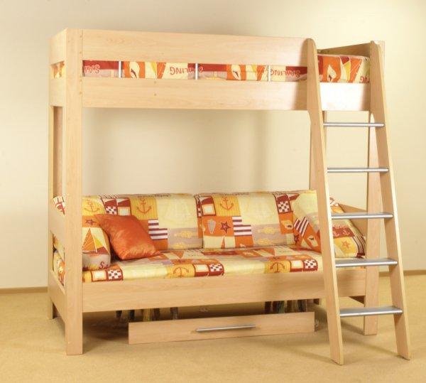 Солнечная кровать чердак с нижним ящиком