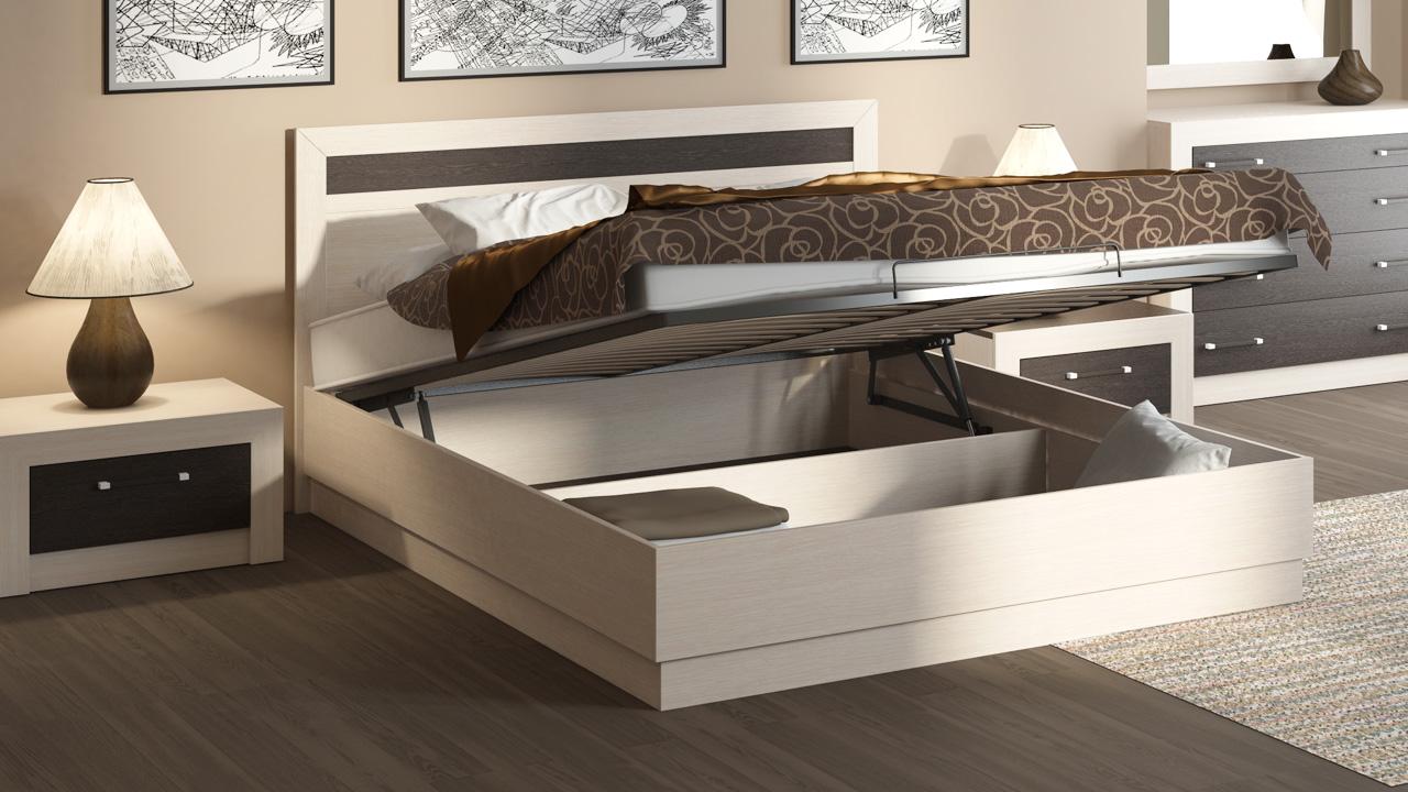 Светлая кровать с подъемным механизмом