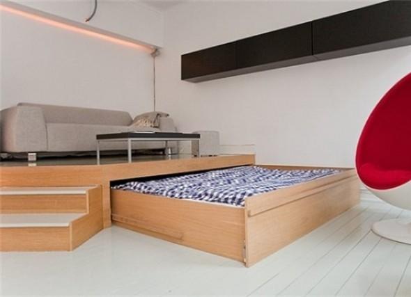 Выдвижная кровать из под подиума