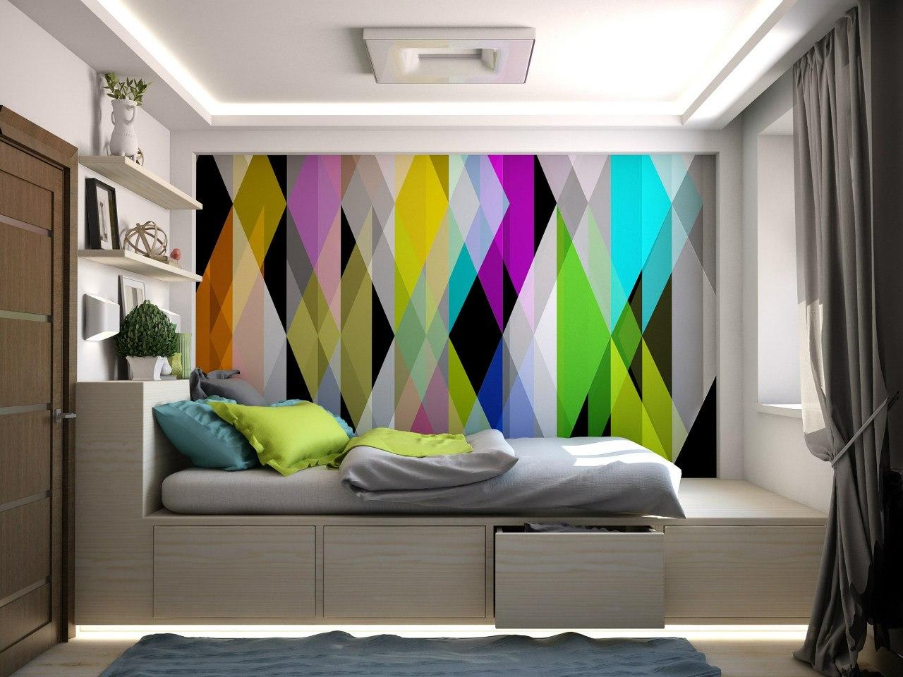 Яркие акценты в спальне
