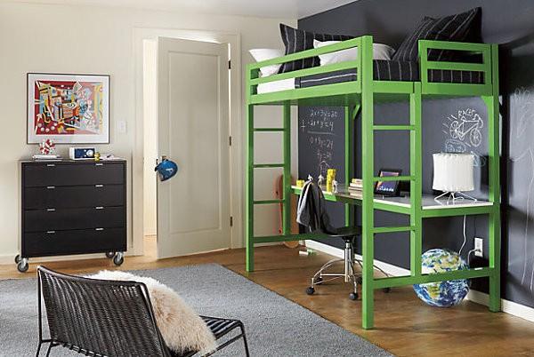 Зеленая кровать чердак для взрослых