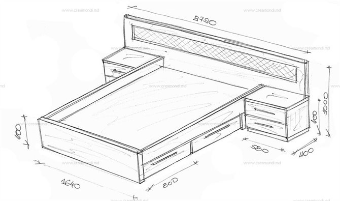 Двуспальная большая кровать с тумбами