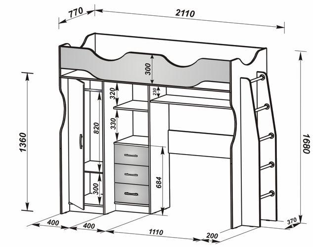 Подробный чертеж кровати с чердаком
