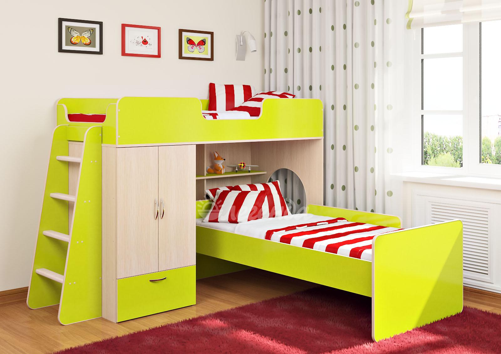 Двухъярусная кровать с перпендикулярными ложе