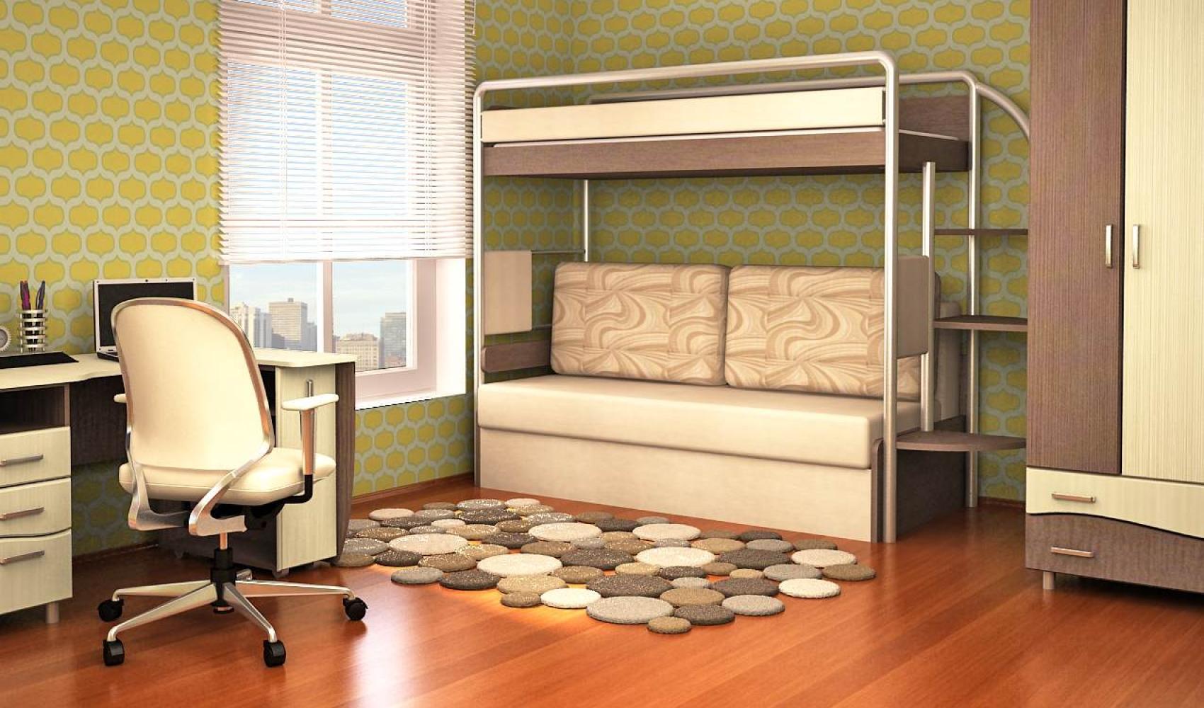 Диван кровать встроенный в двухъярусную модель