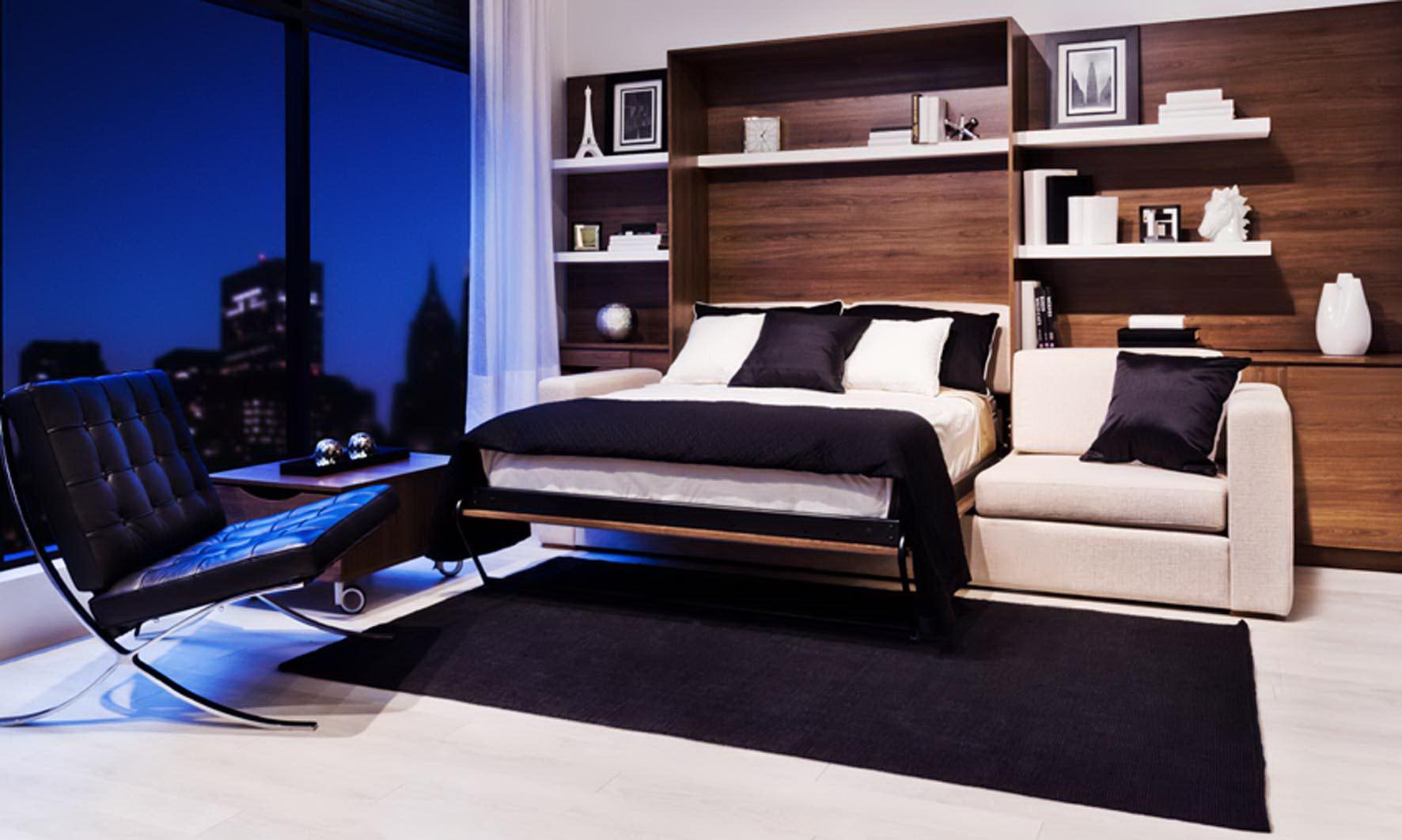 Красивая кровать диван в разложенном виде