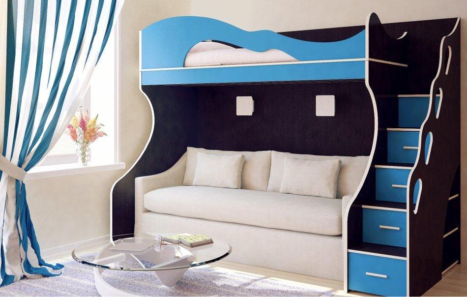 Кровать с диваном в синем цвете