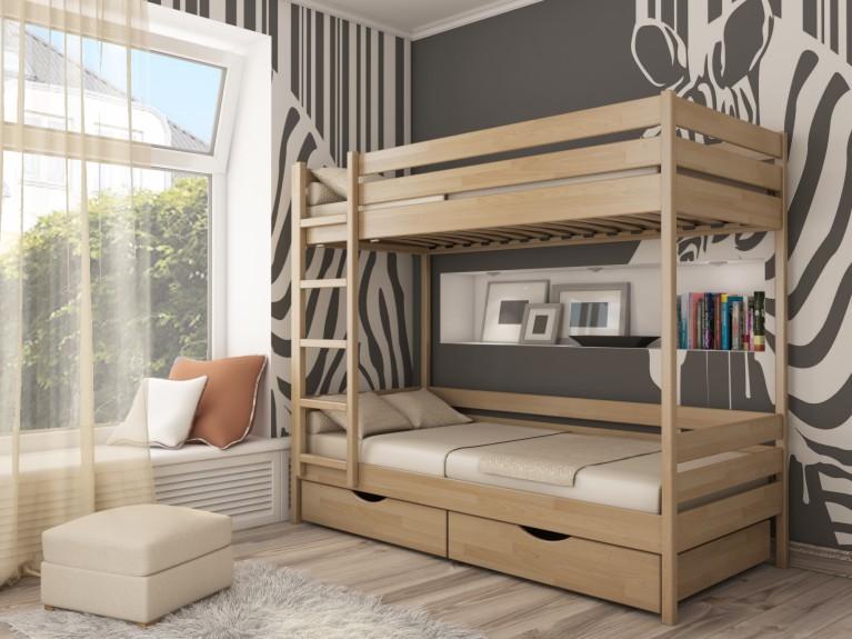Двухуровневая кровать из древесины