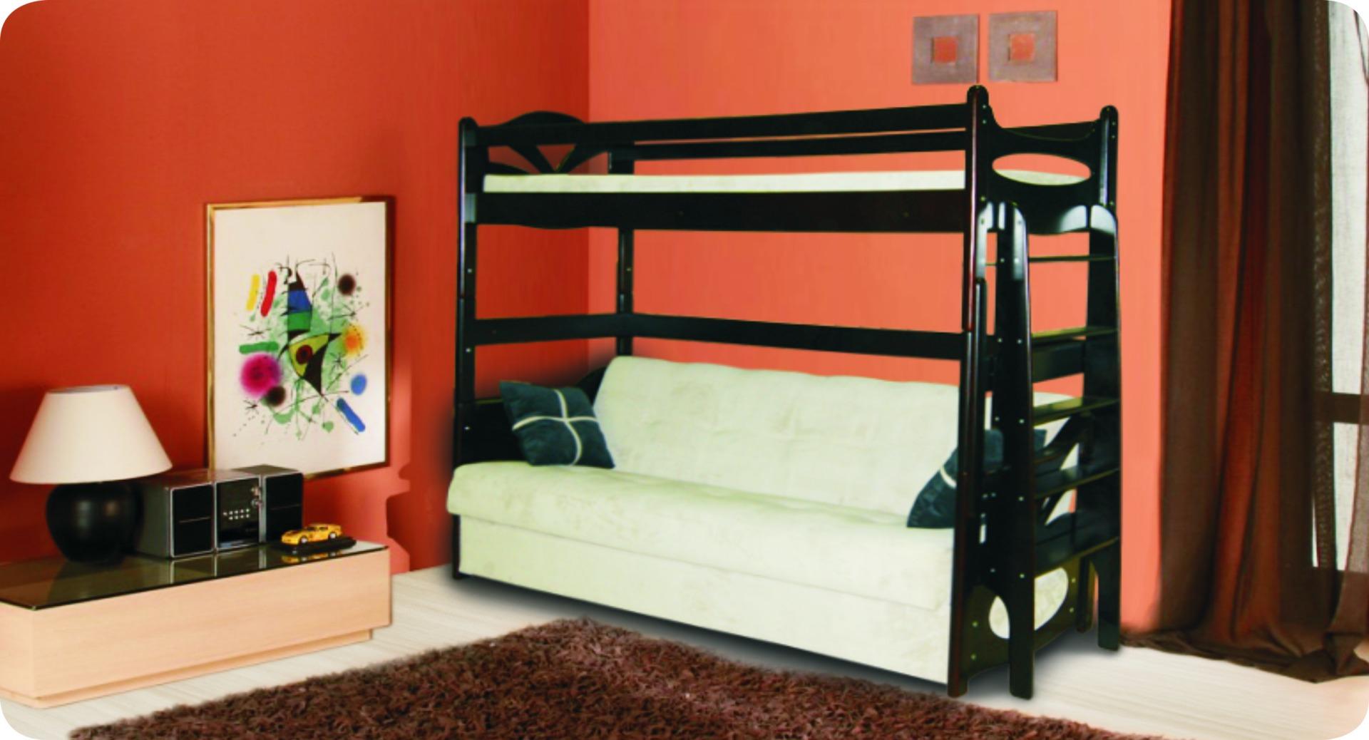Двухуровневая кровать с диваном