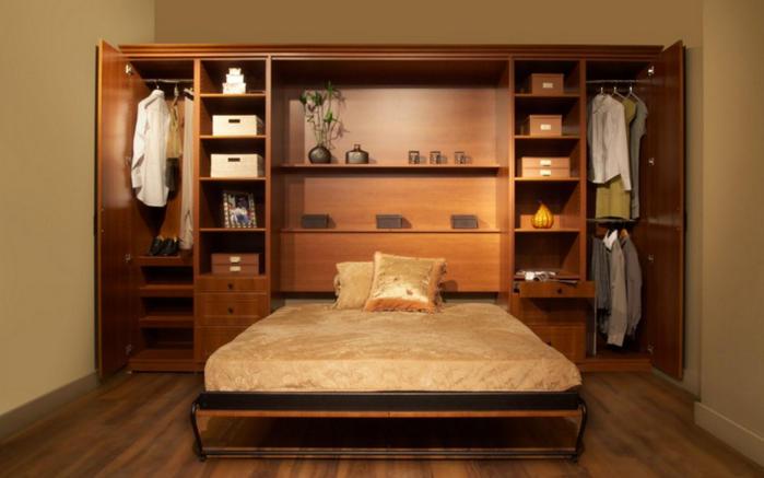 Двуспальная кровать под цвет дерева