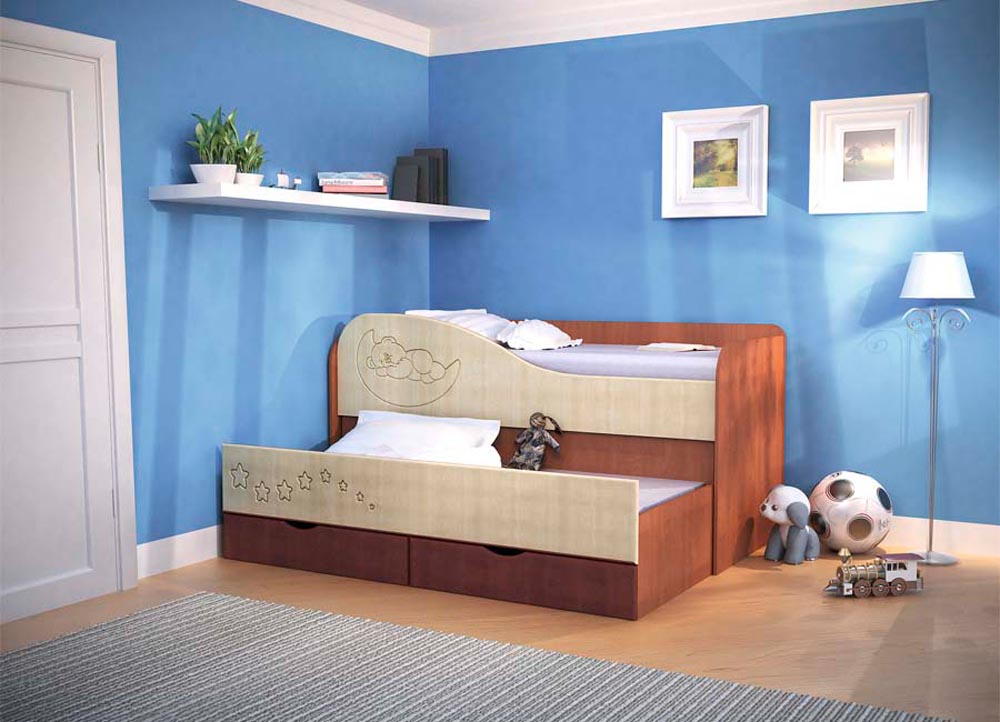 Выкатная двухуровневая кровать