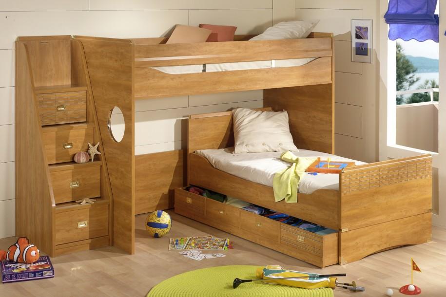 Двухуровневая кровать с ящиками для белья