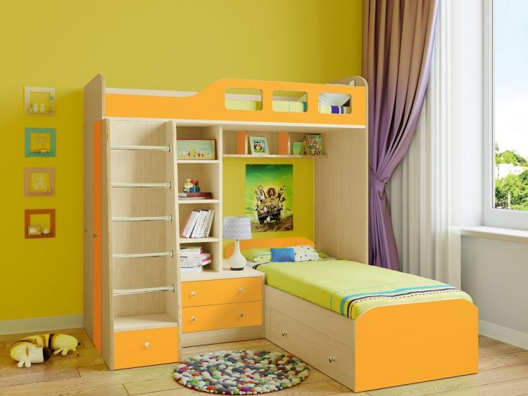 Двухъярусная кровать в угол комнаты