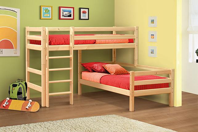 Угловая кровать на два этажа