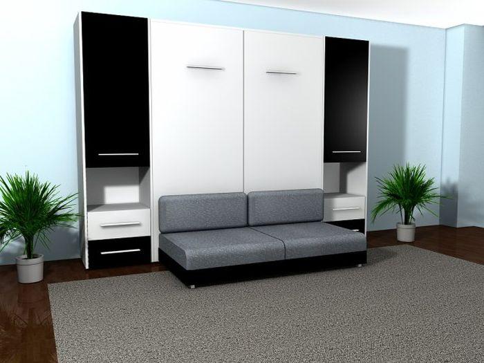 Гостиная со шкафом диваном кроватью