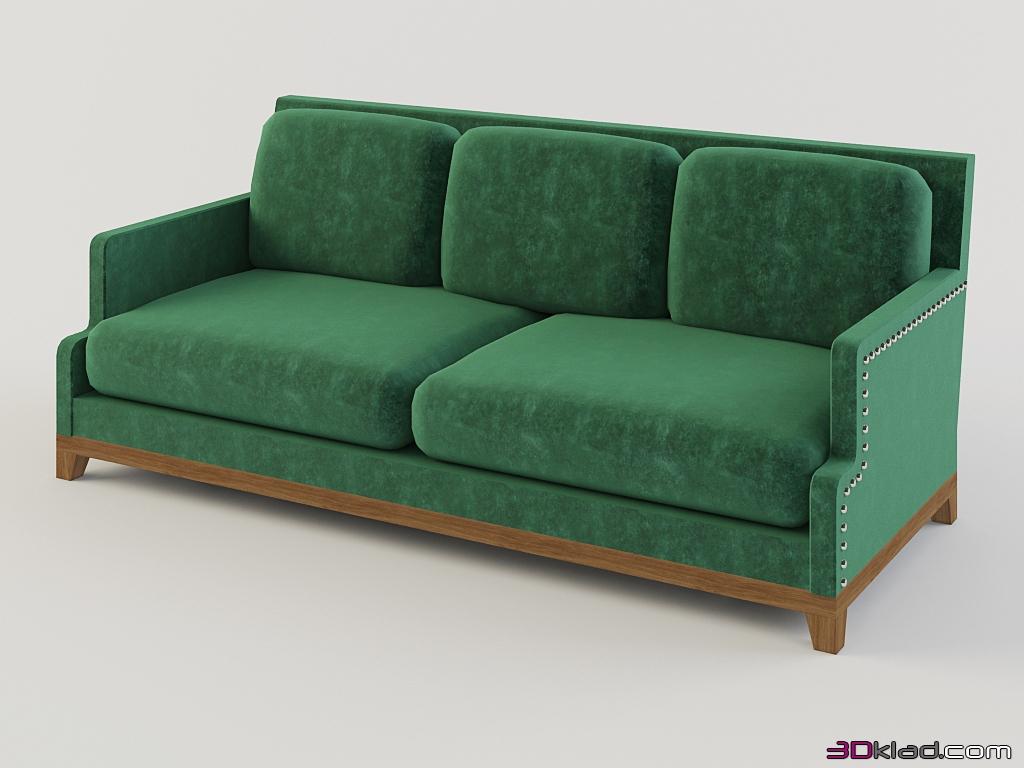 Бархатный зеленый диван
