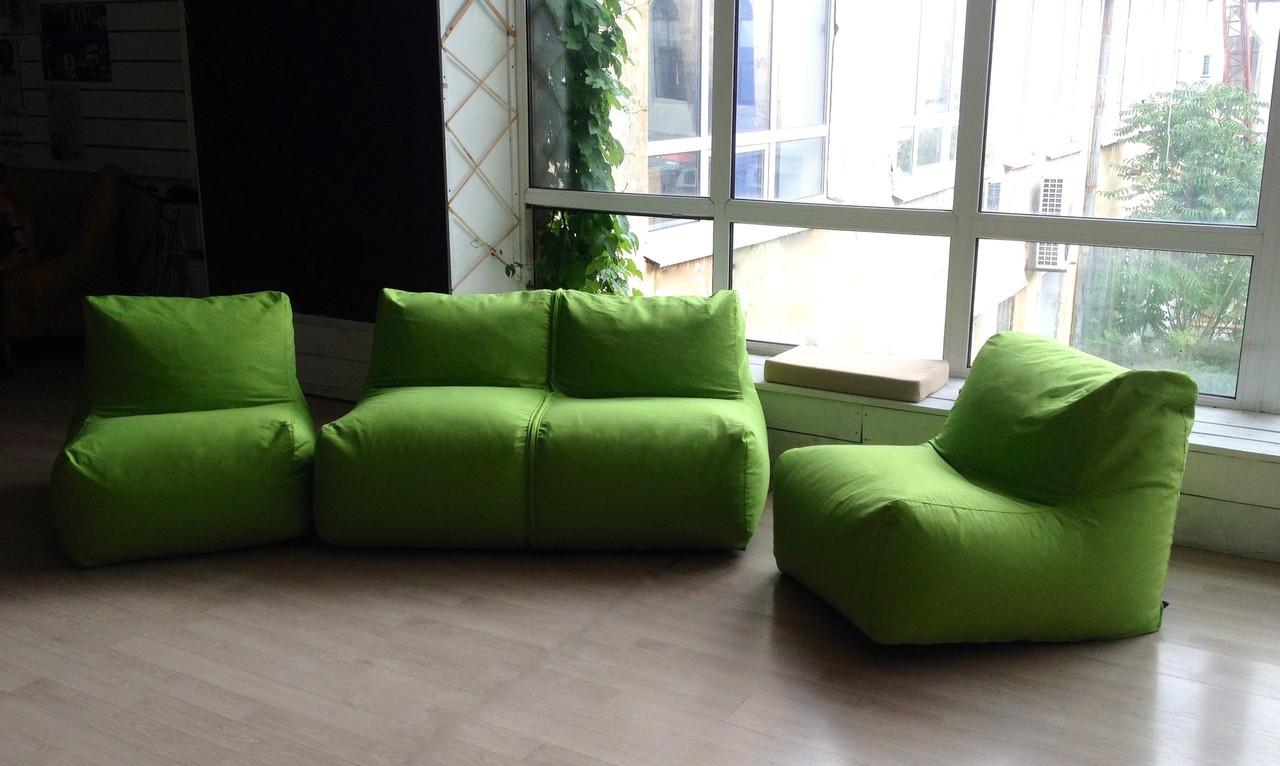 Бескаркасный модульный диван трехместный из ткани