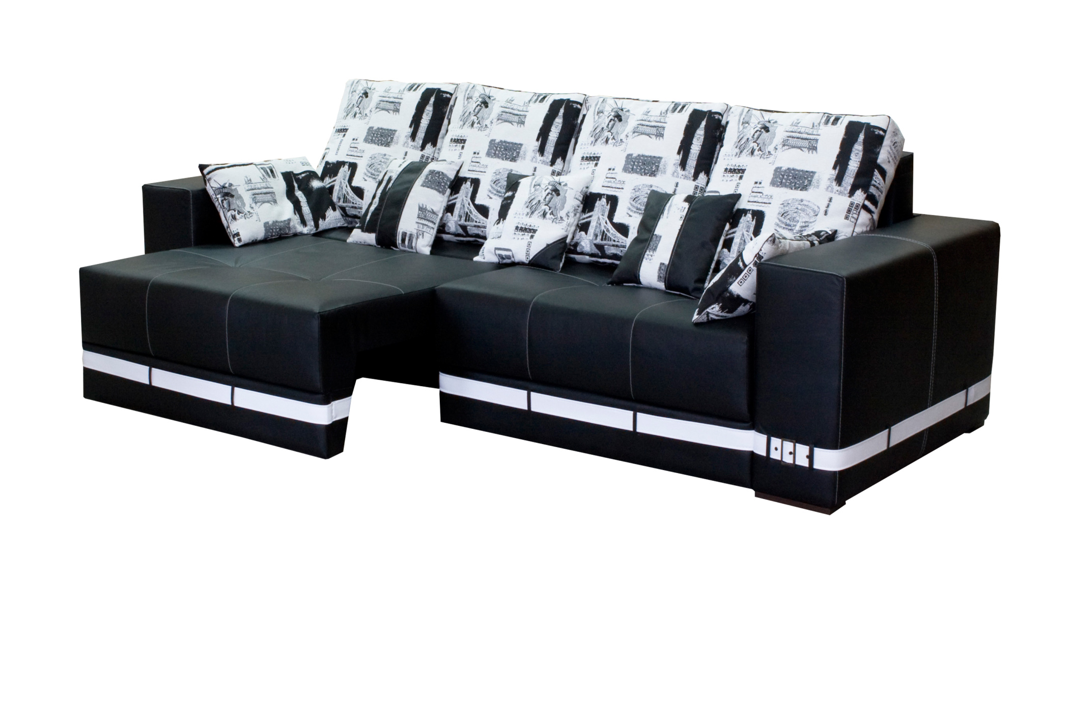 Черно-белый угловой диван