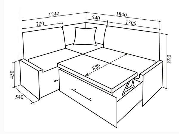 Габариты небольшого дивана