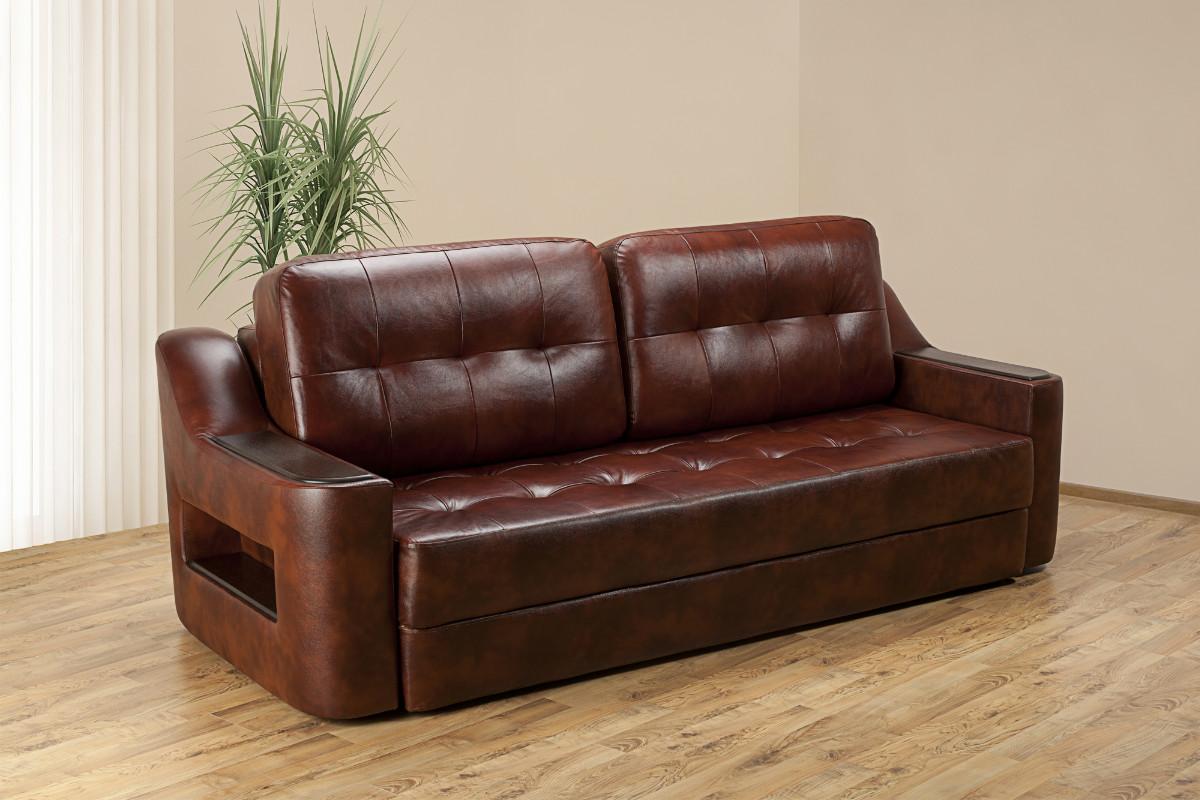 Кожаный диван еврокнижка