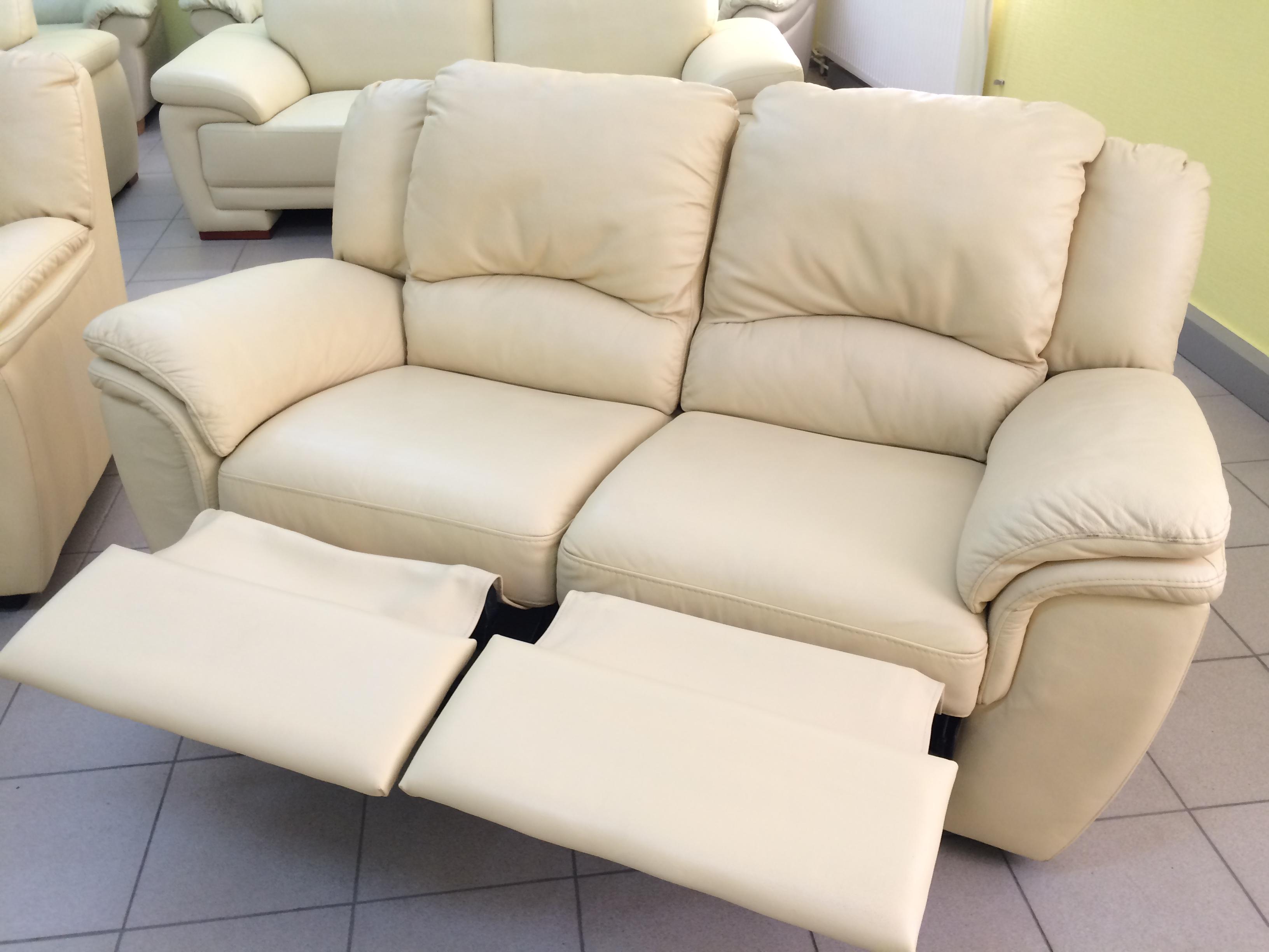 Кожаный диван, реклайнер